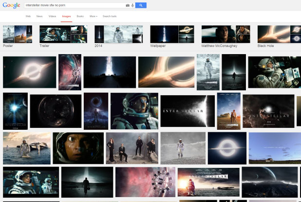 Interstellar Google search results